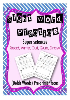Sight Word Practice- Trace, Build, Write, Draw- Preprimer Focus