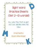 Sight Word Practice Worksheets--13 words!! SET 2