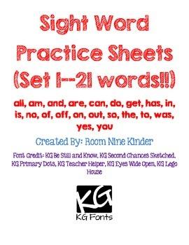 Sight Word Practice Worksheets--21 words!!