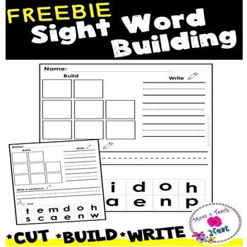 Sight Word Practice Worksheets- Cut it, Build it, Write it