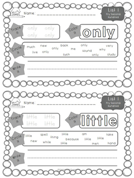 Sight Word Practice Worksheets-Fry Second Hundred