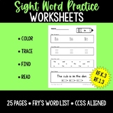 Sight Word Practice Worksheets: Fry's 1-25