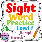 Sight Word Practice Worksheets Level 1 FREEBIE - No Prep