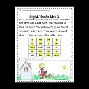 Sight Word Practice    Center Activity and Worksheets   No Prep   List 2   K-1