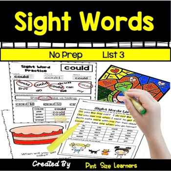 Sight Word Practice | Center Activity and Worksheets | No Prep | List 3| K-1