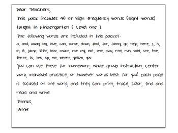 Sight Word Practice Worksheets for Kindergarten (Pre-Primer):