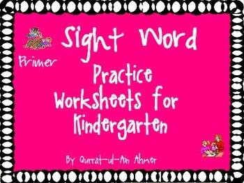 Sight Word Practice Worksheets for Kindergarten-(Primer):