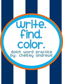 Sight Word Practice: Write, Find and Color Dolch Words {2n