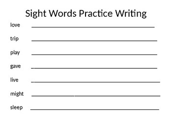 Sight Word Practice Writing