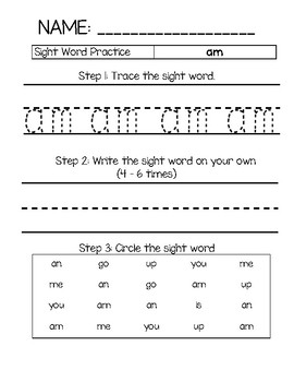 Sight Word Practice - am