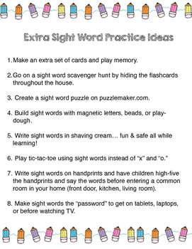 Sight Word Practice at Home
