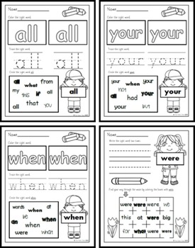 Sight Word Practice 4: but, not, what, all, were, we, when, your, can, said