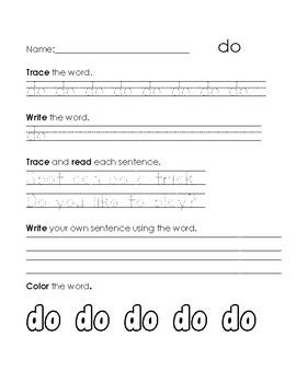 Sight Word Practice- do