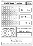 Sight Word Practice - editable