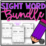Sight Word Practice for Kindergarten Bundle Packs 1-3 (EDITABLE)
