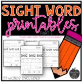 Sight Word Practice for Kindergarten Packet 2
