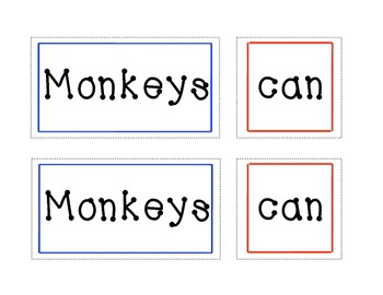 Sight Word Practice for the Pocket Chart (Monkeys Can Play Sports)