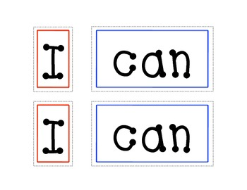 Sight Word Practice for the Pocket Chart (Words: I Can)