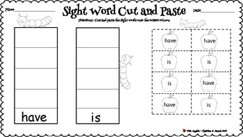 Sight Word Practice (have, is, we, my, like, he, for)