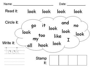 Sight Word Practice - look