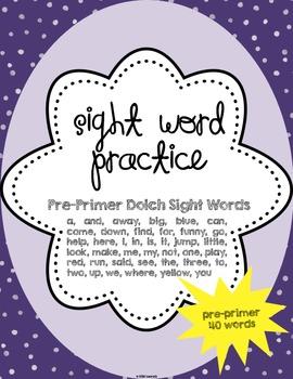 Sight Word Practice {pre-primer}