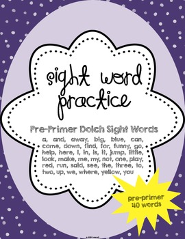 Sight Word Practice {pre-primer}