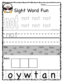 Sight Word Practice (set 4)