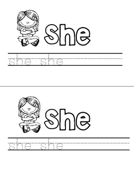 Sight Word Practice - she, make, all, play, he, said, no, good
