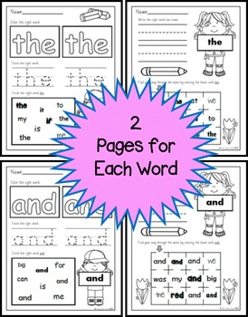 Sight Word Practice 1: the, of, and, a, to,in, is, you, that, it