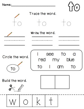 Sight Word Practice: to