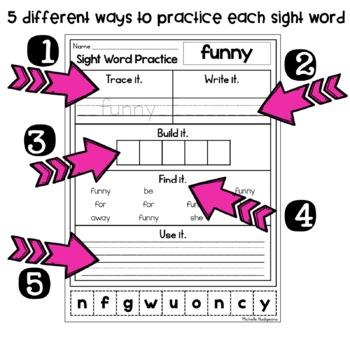 sight word practice pre primer trace it write it build it find it use it