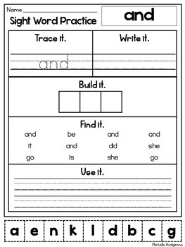 sight word practice pre primer trace it write it build it find it use it. Black Bedroom Furniture Sets. Home Design Ideas