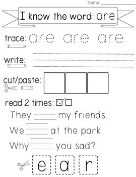 Sight Word Practice with Reading Fluency {Trace, Write, Read}