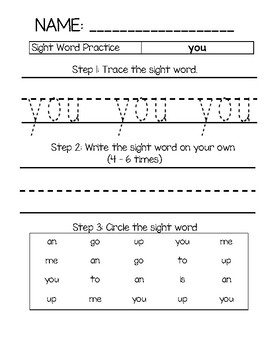 Sight Word Practice - you