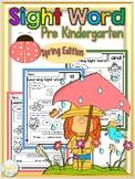 Sight Word Pre Kindergarten Spring Edition