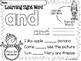 Sight Word Pre Kindergarten Winter Activity