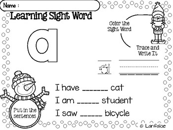 Sight Word Pre Kindergarten Winter Activity