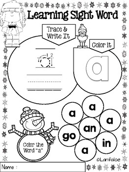 Sight Word Pre Kindergarten Winter Edition