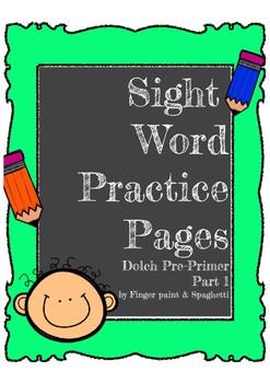 Sight Word  Pre-Primer Words  Volume1