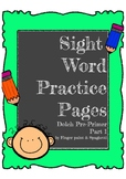 Sight Word  Pre-Primer Words  Volume1