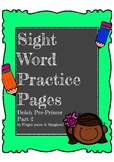 Sight Word Pre-Primer Words Volume 2