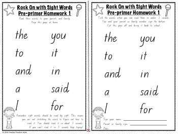 Sight Word Pre-primer Homework Lists Rock On with Sight Words K-2