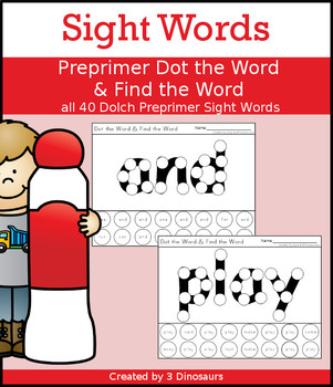 Sight Word Preprimer Dot the Word & Find the Word