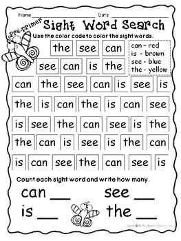 Sight Word Preprimer Packet