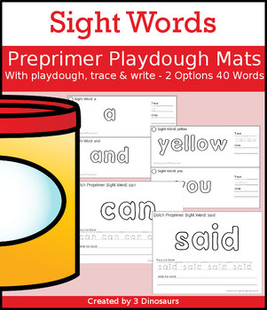 Sight Word Preprimer Playdough Mat with Tracing & Writing