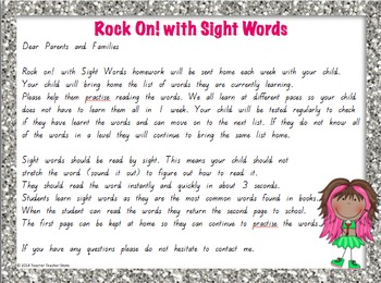 Sight Word Primer Homework Lists Rock On with Sight Words K-2