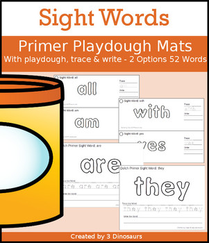 Sight Word Primer Playdough Mat with Tracing & Writing