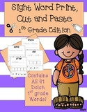 Sight Word Print, Cut, and Paste 1st Grade Edition