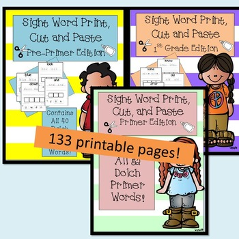 Sight Word Print, Cut and Paste Bundle