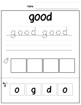Sight Word Print, Cut, and Paste Primer Edition